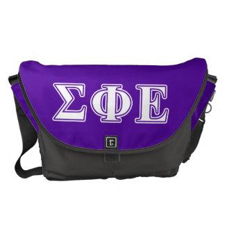 Sigma Phi Epsilon White and Purple Letters Messenger Bag