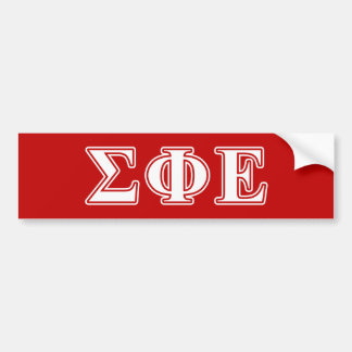 Sigma Phi Epsilon White and Red Letters Bumper Sticker