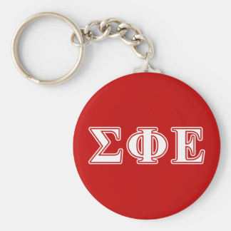 Sigma Phi Epsilon White and Red Letters Keychain
