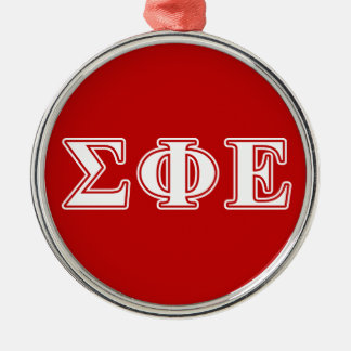 sigma phi epsilon white and red letters metal ornament