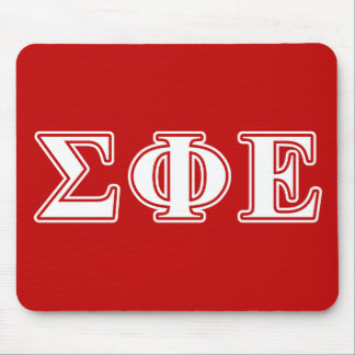sigma phi epsilon white and red letters mouse pad