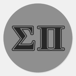 Sigma Pi Black Letters Classic Round Sticker