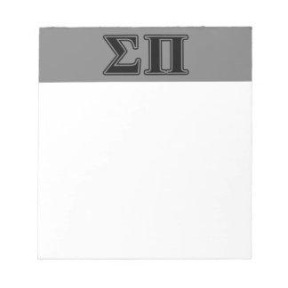 Sigma Pi Black Letters Memo Notepads