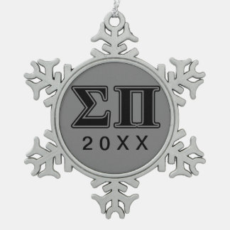 Sigma Pi Black Letters Snowflake Pewter Christmas Ornament