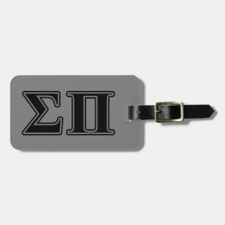 Sigma Pi Black Letters Tag For Bags