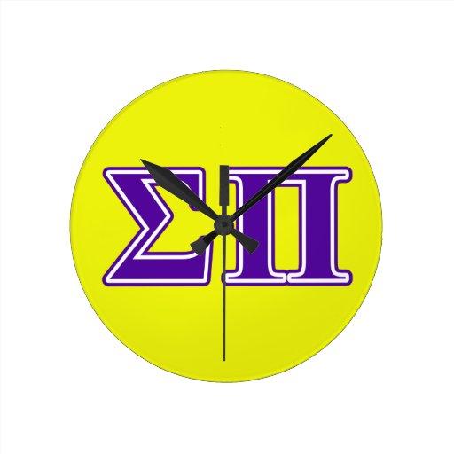 Sigma Pi Purple Letters Round Wallclocks