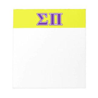 Sigma Pi Purple Letters Memo Pads