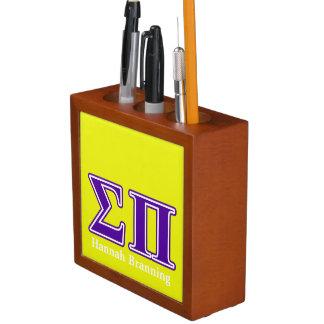 Sigma Pi Purple Letters Pencil Holder
