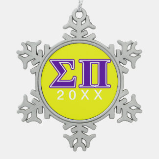 Sigma Pi Purple Letters Snowflake Pewter Christmas Ornament