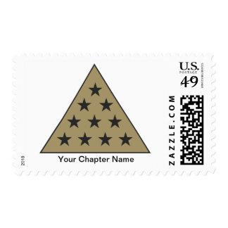sigma pi pyramid gold postage stamp