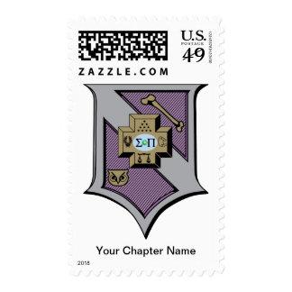 Sigma Pi Shield 4-Color Postage Stamps
