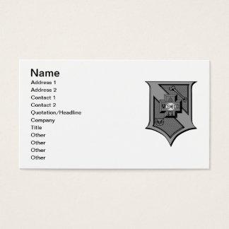 Sigma Pi Shield Grayscale Business Card