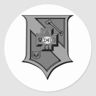 Sigma Pi Shield Grayscale Classic Round Sticker