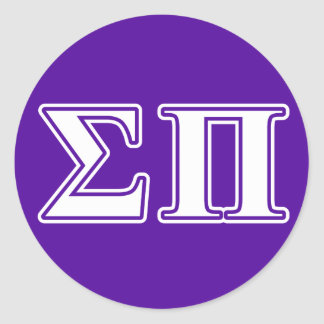 sigma pi white and purple letters classic round sticker