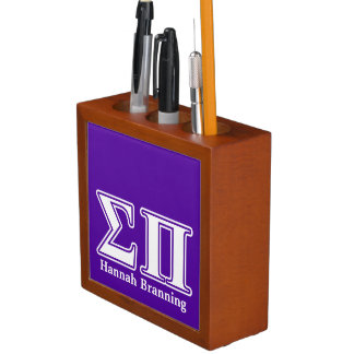 Sigma Pi White and Purple Letters Pencil/Pen Holder