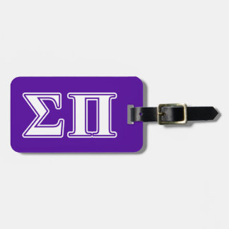 Sigma Pi White and Purple Letters Luggage Tag