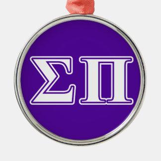 Sigma Pi White and Purple Letters Metal Ornament