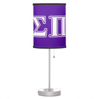 Sigma Pi White and Purple Letters Table Lamp