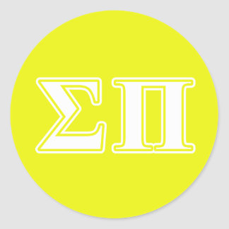 sigma pi white and yellow letters classic round sticker