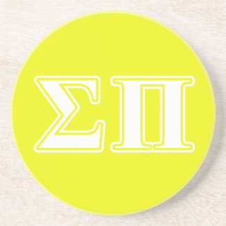 Sigma Pi White and Yellow Letters Coaster