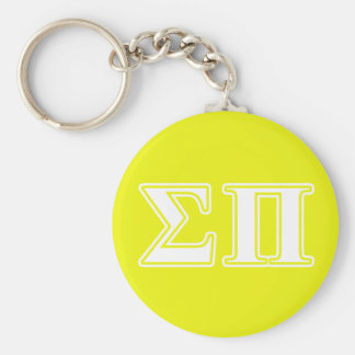 Sigma Pi White and Yellow Letters Keychain