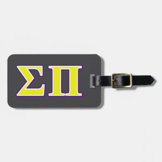 Sigma Pi Yellow and Purple Letters Bag Tags