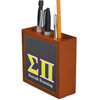 Sigma Pi Yellow and Purple Letters Desk Organizer