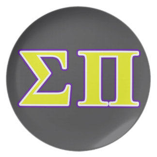 Sigma Pi Yellow and Purple Letters Party Plates
