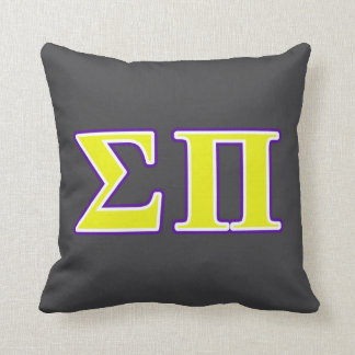 Sigma Pi Yellow and Purple Letters Throw Pillow