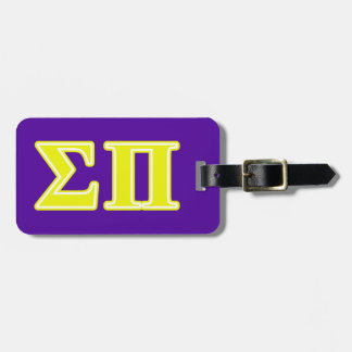 Sigma Pi Yellow Letters Bag Tag