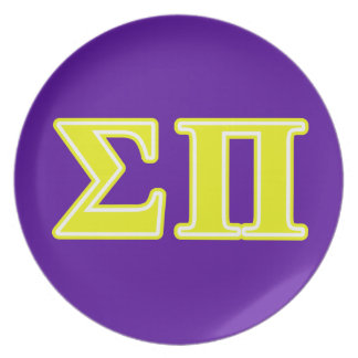 Sigma Pi Yellow Letters Dinner Plates