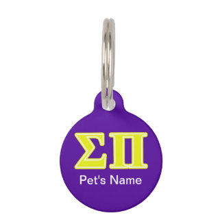 Sigma Pi Yellow Letters Pet ID Tag