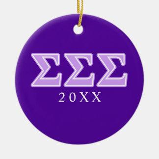 Sigma Sigma Sigma Lavender Letters Ceramic Ornament