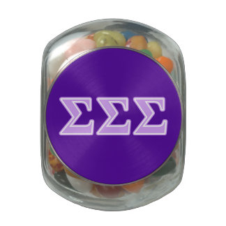 Sigma Sigma Sigma Lavender Letters Glass Candy Jar
