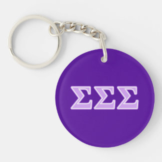 Sigma Sigma Sigma Lavender Letters Double-Sided Round Acrylic Keychain