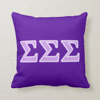 Sigma Sigma Sigma Lavender Letters Throw Pillow
