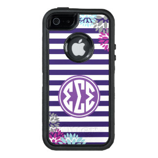 Sigma Sigma Sigma | Monogram Stripe Pattern OtterBox Defender iPhone Case