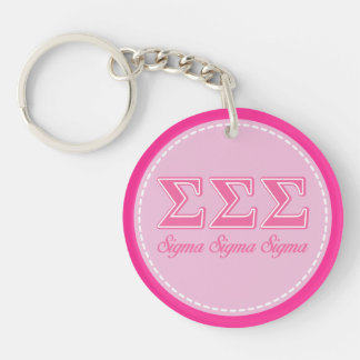 Sigma Sigma Sigma Pink Letters Double-Sided Round Acrylic Keychain
