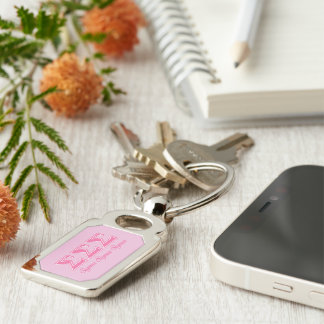 Sigma Sigma Sigma Pink Letters Silver-Colored Rectangular Metal Keychain
