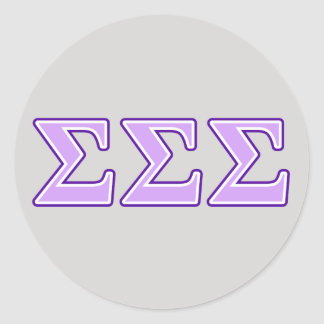 Sigma Sigma Sigma Purple and Lavender Letters Classic Round Sticker