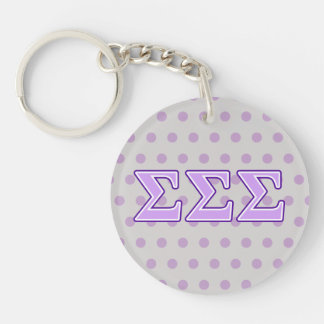 Sigma Sigma Sigma Purple and Lavender Letters Double-Sided Round Acrylic Keychain