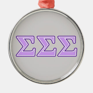 Sigma Sigma Sigma Purple and Lavender Letters Metal Ornament