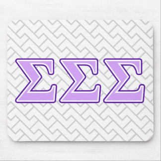 Sigma Sigma Sigma Purple and Lavender Letters Mouse Pad