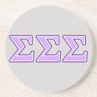 Sigma Sigma Sigma Purple and Lavender Letters Sandstone Coaster