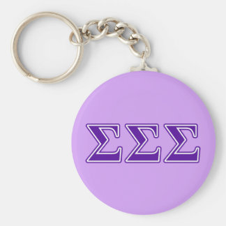 Sigma Sigma Sigma Purple Letters Keychain