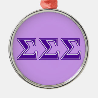 Sigma Sigma Sigma Purple Letters Metal Ornament