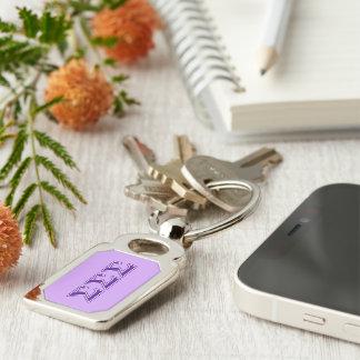 Sigma Sigma Sigma Purple Letters Silver-Colored Rectangular Metal Keychain