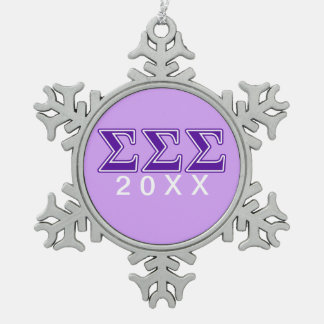Sigma Sigma Sigma Purple Letters Snowflake Pewter Christmas Ornament