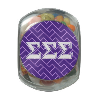 Sigma Sigma Sigma White Letters Glass Candy Jars