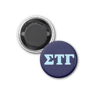 Sigma Tau Gamma Blue Letters 1 Inch Round Magnet